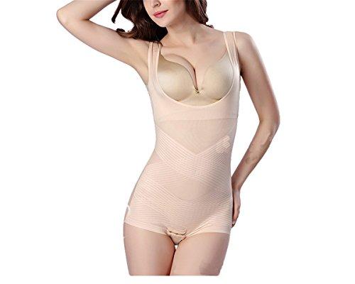 Hippolo Damen Shapewear Figurformender Formende Bodys Taillenformer Shaping Bodysuit mit Haken (XXL, Farbe) (Geformt Seamless-bustier)