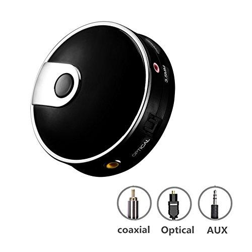 Transmisor Bluetooth, Andven Adaptador de Audio Fibra Óptico Digital TOSLINK / Auxiliar de 3,5 mm / Óptica / Coaxial para TV, PS4, XBOX, DVD( aptX Baja Latencia, Adaptador RCA, Doble Emparejamiento)