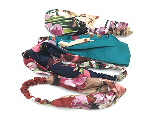 4 Pack Headbands For Women,Yofa Vintage Elastic Flower Printed Head Wrap Hairband For Girls Twisted Fashion Hair Accessories
