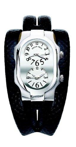Philip Stein - 1-G-FW-CZDWD - Montre Femme - Quartz Analogique - Cadran Blanc - Bracelet Cuir Noir