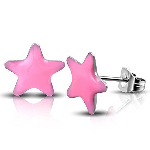 blackama Ciment Lot de 2boucles d'oreilles Piercing Acier inoxydable 316L étoile de mer étoile Star Noir Rose Femme rose bonbon
