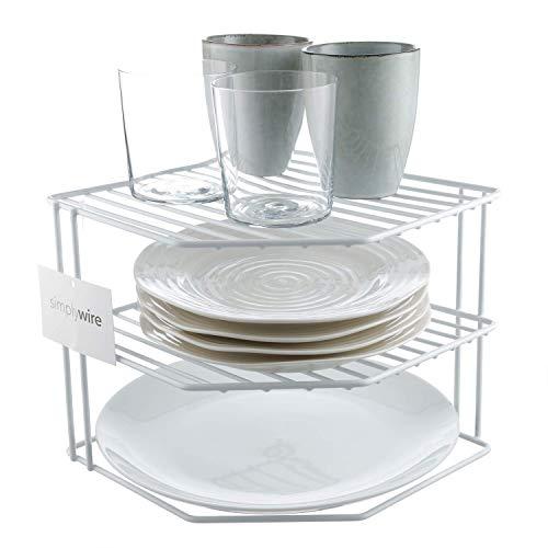 Simplywire - Soporte para vajilla - Organizador de armarios de cocina - Diseño de 3 niveles - Blanco...