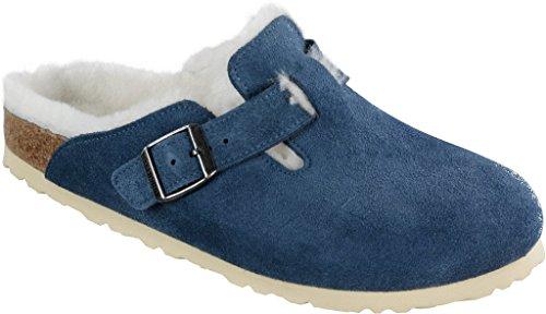 Birkenstock Clogs ''Boston Fell'' aus Leder / Fell in stahlblau mit schmalem Fussbett Stahlblau