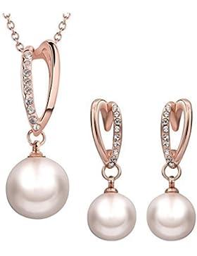 B.Z La Vie®Schmuck-Sets falschen Perlen Halsketten-Ohrringe-Rose Gold
