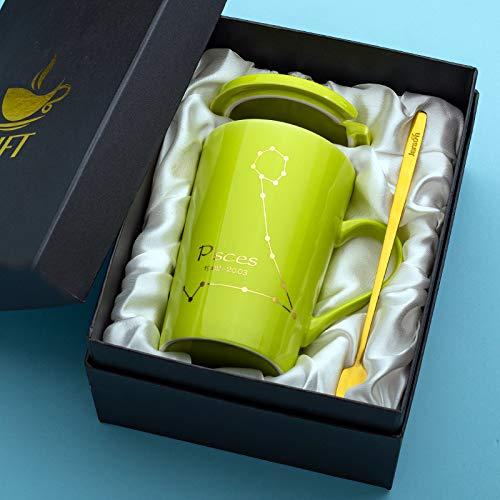 Keramische Schale der kreativen Kennzeichenwasserschalenpersönlichkeitstendenz mit Deckellöffelmann und weiblichem Paarkaffeetassehaus