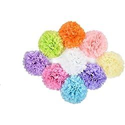 18 piezas de pompones de papel de diferentes combinaciones de color