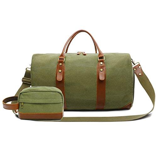 Oflamn Borsa da Viaggio con Una Borsa da Toeletta per Donne e Uomo - Borsone da Vintage in Pelle con Scompartimento Scarpe - Borsa da Palestra Sportivo - Leather Travel duffel Bag (green set)