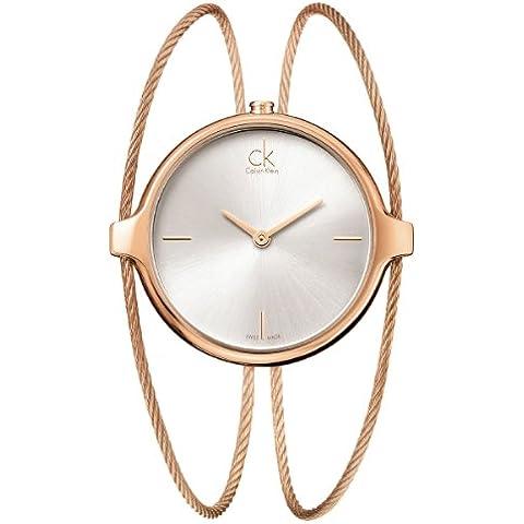 Calvin Klein ck agile K2Z2M616 - Reloj analógico de cuarzo para mujer, correa de acero inoxidable chapado color