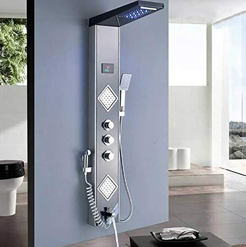 Shower System LED-Licht Goldene Dusche Wasserhahn Digitale Temperatur Bildschirm Dusche Panel SPA Massage Jet Dusche Säule Turm mit Sprühdüse,A -