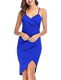 Vestiti Donna Estivo Banchetto Corti Colori Solidi Slim Semplice Glamorous  Fit V Neck Abito Donne Moda 592d47716b7