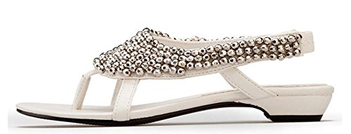 Wealsex Sandales Plates Bout Ouvert Flip Flop Strass Bijoux Perle Bohême Casuel Chaussure Été Plage Fête Voyage Vacances Femme Blanc