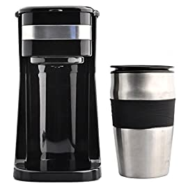 Coffee Maker, Powerlead Single Cup Coffee Personal One Cup Coffee Maker with Travel Coffee Mug Coffee Dripper Brew with Ground Coffee or Coffee Pods