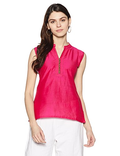 Soch Women's Straight Synthetic Kurta (SOCH NC KT 2946-DARK PINK-GOLD_X-Large)