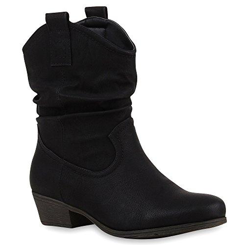 Damen Stiefeletten Cowboy Boots Holzoptikabsatz Stiefel Schlupfstiefel Blockabsatz Wildlederoptik Schuhe 68805 Schwarz 37 | (Cowboy Und Outfits Cowgirl)
