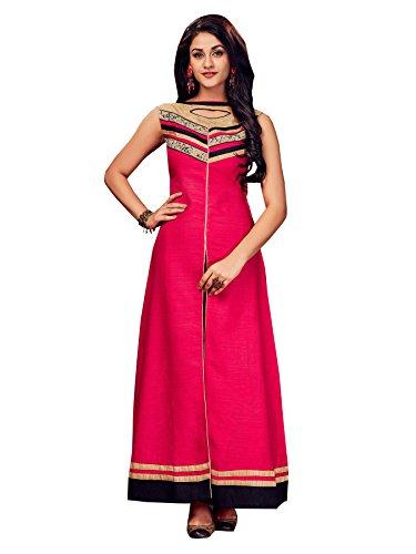 Dark pink silk designer front slit kurti (Small)