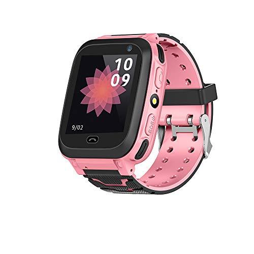 Kid Smart Watch Support-Speicherkarte GPS-Verfolger IP67 wasserdichte Fitness-Uhr PAS mit Kamera Uhr (Pink)