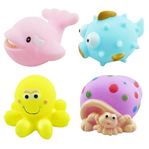 Imported Baby Bath Squeaky Toys Corlorful Rubber Marine Animals Pack of 4