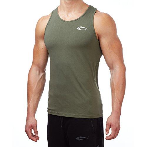 SMILODOX Tank Top Herren | Muskelshirt mit Aufdruck für Sport Gym Fitness & Bodybuilding | Muscle Shirt mit Aufdruck - Unterhemd - Achselshirt - Trainingshirt Kurz, Farbe:Dunkelgrün, Größe:S (Workout-muskel-t-shirt)