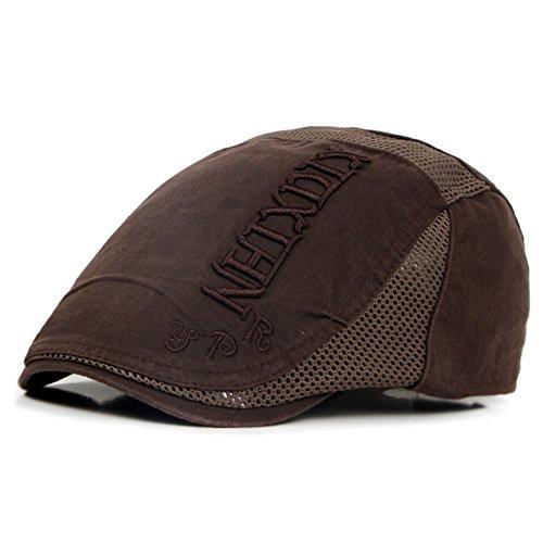 Scrox 1x Hombre Mujer Sombreros Gorras Boinas Clásico Moda Vintage Flat Cap Casual Unisex Otoño Invierno Outdoor Algodón Ocio Hat Sombrero Corto (Marrón)