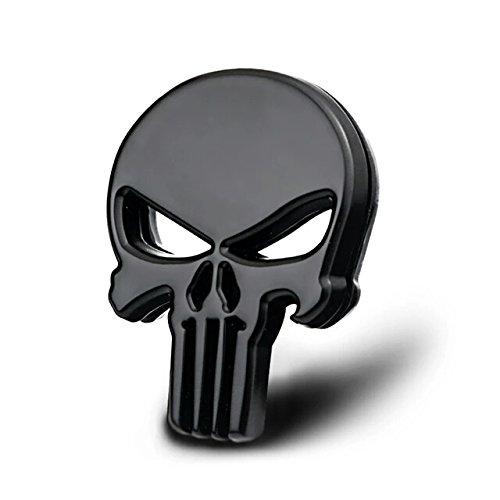 Incognito-7 The Punisher 3D Laxury Skeleton Skull Body Metal Badge Emblem Logo Decal Sticker (Black)