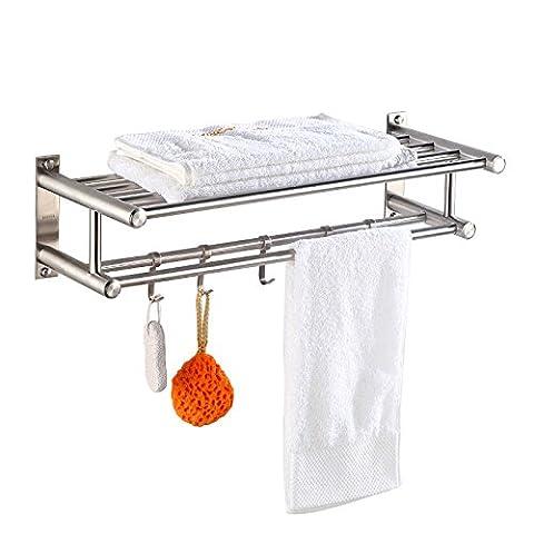 ZLYAYA--Porte-serviettes,Crochets de serviette ,Acier inoxydable 304 boxe accessoires de salle de bains Salle de bains vêtements racks, 80cm Anneaux de serviette,Tablettes Porte-serviette