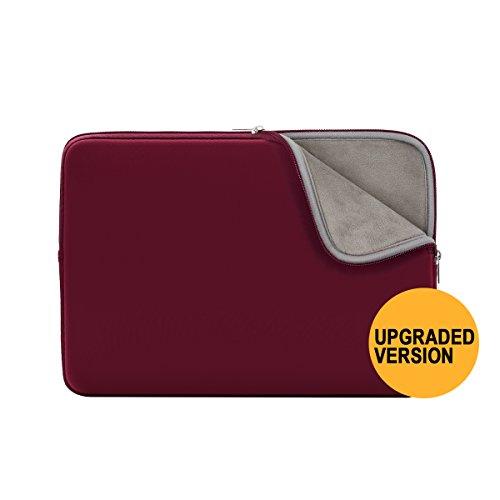 Rainyear Gepolsterte Neopren-Tragetasche und -Schutzhülle für Laptop, MacBook, Notebook, Chromebook, Ultrabook von Dell, HP, ThinkPad, Lenovo, Asus, Acer, Toshiba, Samsung Red(Upgraded Version)13-13.3