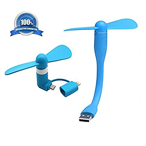 Ecjiuyi 3-en-1 Mini ventilateur portable et léger Air Phone Fans, Plug and Play Détachable (USB et Lightning et Micro USB Port) Mini ventilateur pour Apple iPhone, Android Smart Phone, Power Bank et Laptop, Outdoor Cooling Fan Tool (Bleu)