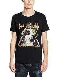 Plastic Head Men's Def Leppard Hysteria Banded Collar Short Sleeve T-Shirt