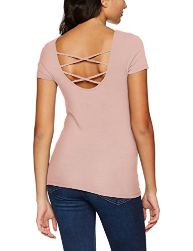 Only Onllive Love SS Lace Up Top Noos, T-Shirt Donna Rosa (Peach Whip)