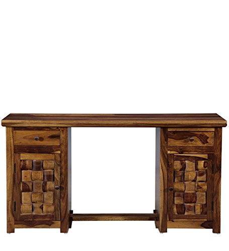 Made Wood Madeway Solid Provincial Teak Finish Study Table  Brown