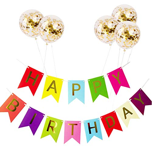 Aisoway Geburtstag Deko-Set Papier Bunting Banner Hot Stamping Letters Flaggen-Geburtstags-Hang Schwalbenschwanz Banner Pailletten-Ballon-Geburtstags-Party-Pool-Party-Sommer-Party Supplies -