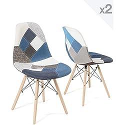 KAYELLES Chaise Patchwork Nadir - Lot de 2 chaises Design (Patchwork Bleu)