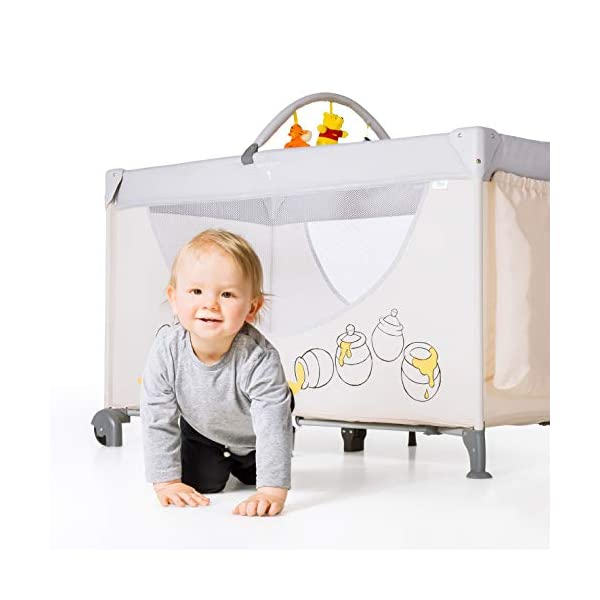 Hauck Dream N Play Go, 5-Part Travel Cot from Birth to 15 kg, 120 x 60 cm, Folding Travel Bed with Folding Mattress, Carry Bag, Play Arch and Toy Bag, Tilt-Resistant, Pooh Cuddles Disney Suitable from birth Includes fold up mattress (60 x 120cm) Folds away into its own carry bag 12