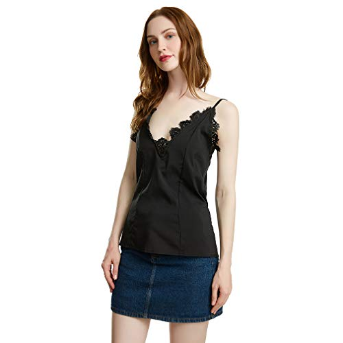 e für Frauen Sexy V-Ausschnitt Ärmellose Crochet Lace Cami Tank Tops, M ()