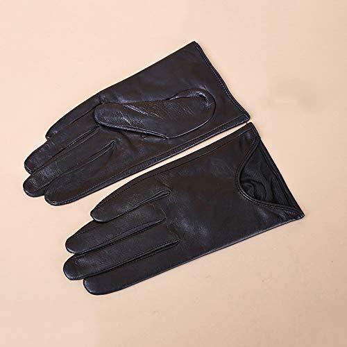 Agelec Damen Lederhandschuhe Dünne Lederziegenlederhandschuhe Herbst und Winter Warm Einfache Kleine Backless Handschuhe Fahren Reiten Touchscreen Handschuhe (Color : Warm Lining, Größe : M)