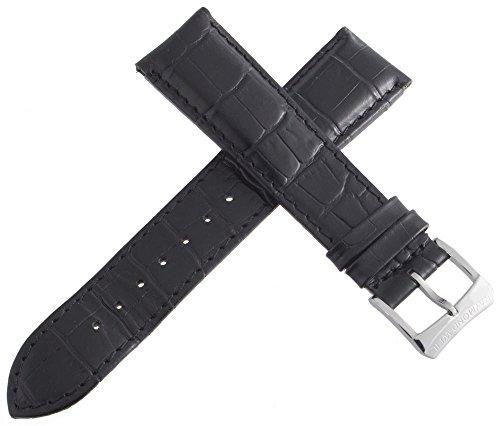 Raymond Weil 21mm schwarz Alligator Leder Uhrenarmband mit Silber Ton Schnalle