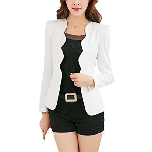 ROMANTIC BEAR Damen Eine Taste Slim Casual Business Blazer Anzugjacke (Check Jacket Suit)