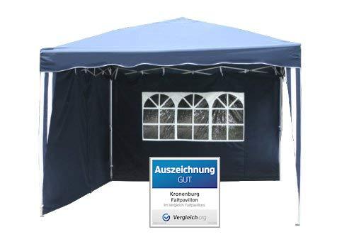 Kronenburg Falt Pavillon Dachmaß 3 x 3 m in blau mit 2 Seitenteilen - Auszeichnung GUT