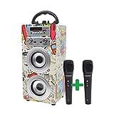 DYNASONIC draagbare Bluetooth luidspreker karaoke met 2 microfoons, USB en SD-kaartlezer, FM-radio Model 025 TWS(model 2, 2 microfoons)
