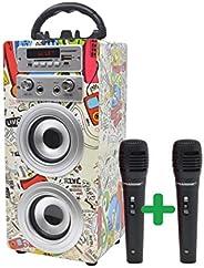 DYNASONIC - Altavoz Bluetooth Portatil Karaoke con Micrófonos Incluidos | Lector USB y SD, Radio FM Modelo 025