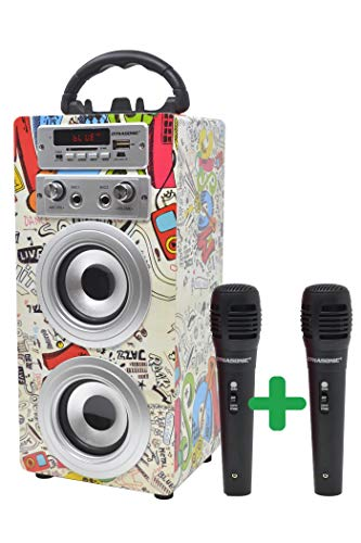 Oferta de DYNASONIC - Altavoz Bluetooth Portatil Karaoke con Micrófonos Incluidos | Lector USB y SD, Radio FM Modelo 025 (2 Micrófonos)