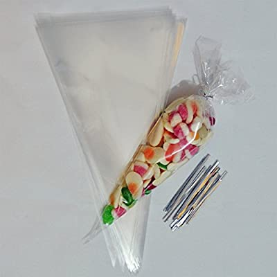 Medium Clear Cone Party Bags with Free Ties. Pefect for Sweets