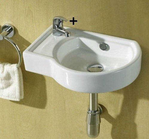 Remi Small Compact Cloakroom Basin Bathroom Sink Offset Round Square Corner  Hand ...