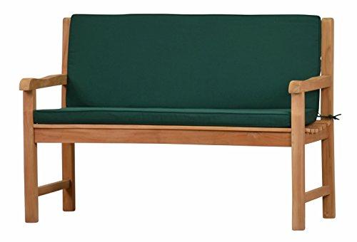 Grüne Bankauflage Kanaria mit Rückenteil - 120 x 91 cm | ✓ Bank-Polster aus 100{15a671ee3f8168288fd7f463efb946cc97a98ee2daa92337d23a57a9b3f767ac} strapazierfähigem Polyester ✓ 6 cm dickes bequemes Bankkissen ✓ Polster-Auflage als Sitzpolster für Gartenmöbel
