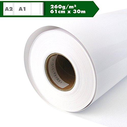 Inkjet Your Design rollo brillante papel fotográfico de papel para plóter 260g/m², 61cm x 30m A1A2Glossy impermeable, adecuado para tintas de colores y pigmento