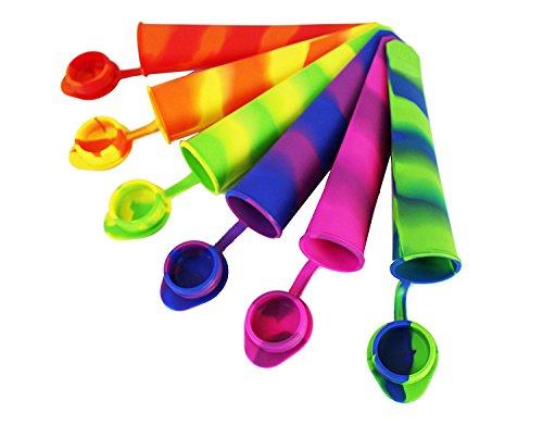 Colored Rainbow Swirl Silikon Eis Popsicle Form/Maker mit befestigter Deckel, Silikon Ice Pop Formen [Set von 6] mit perfekt Popsicle holder-ice Pop Maker Set