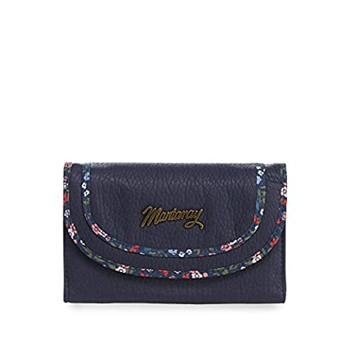 Mantaray Womens Navy Floral Trim Flap Over Purse