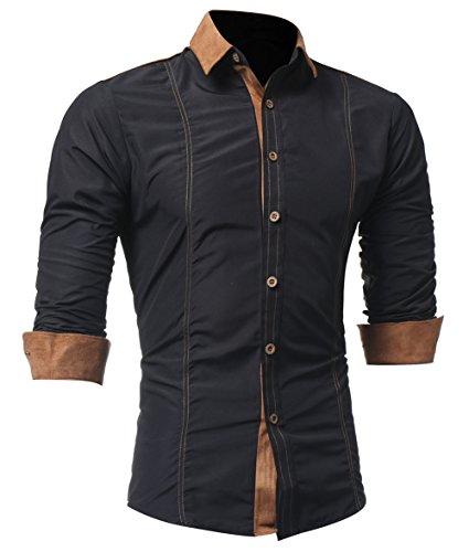 Kuson Herren Langarmhemd Slim Fit Hemden Modern Business Hochzeit Freizeit Bügelleicht kentkragen Hemd mit Geweihprosse Schwarz