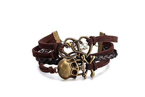 iLove EU Schmuck Freundschaft Armband Armreif Legierung Leder Seil Gold Braun Schwarz Piraten Totenkopf Schädel Doppelt Herz Infinity Unendlichkeit Zeichen Vintage Charm Damen