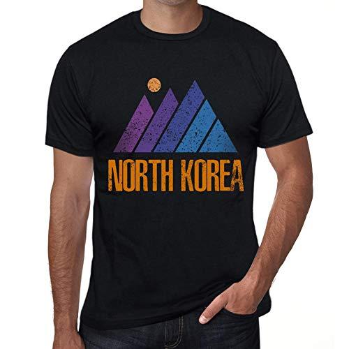 One in the City Hombre Camiseta Vintage T-Shirt Gráfico Mountain North Korea Negro Profundo